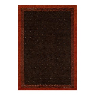 Contemporary Momeni Desert Gabbeh Hand Knotted Brown Wool Area Rug - 2' X 3' For Sale
