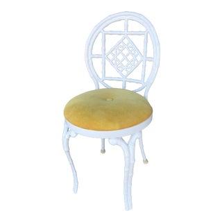 Vintage Kessler Faux Bamboo Metal Vanity Chair For Sale