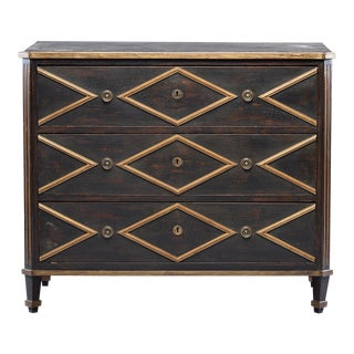 Black English Chest With Gold Diamond Detail For Sale