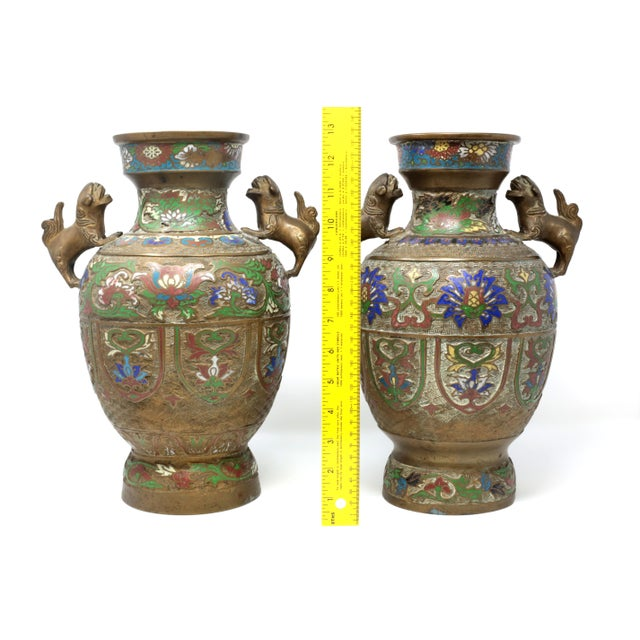 Vintage Bronze Champleve Urns With Foo Dog Handles - a Pair For Sale In Tampa - Image 6 of 11