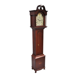 New England Clock Co. Mahogany Inlaid Grandmother Clock For Sale