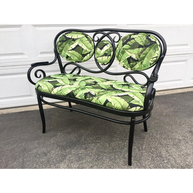 For sale is this amazing Vintage Thonet Bentwood Bench. Redesigned for a more modern high end feel. It was painted gloss...