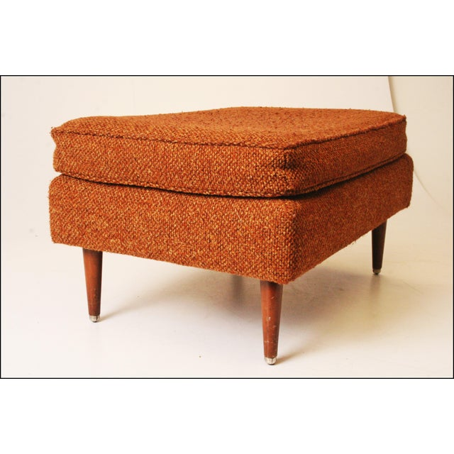 Mid-Century Modern Brown Upholstered Foot Stool - Image 8 of 11