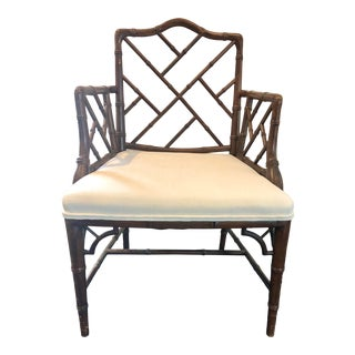 Newly Reupholstered Vintage Chinese Chippendale Armchair For Sale