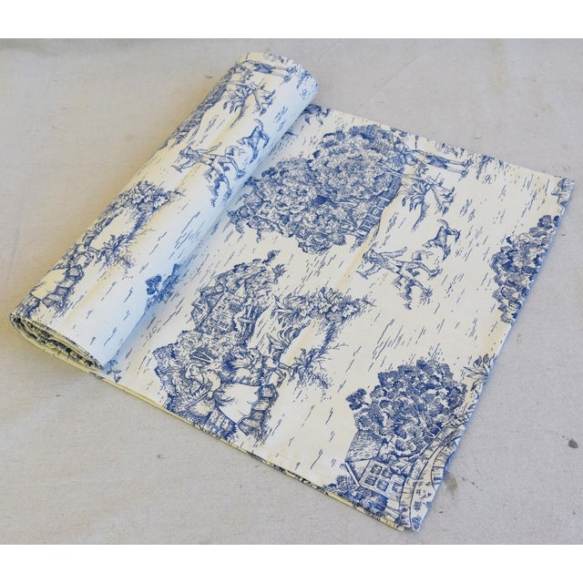 """Textile Blue & Cream French Farmhouse Country Toile Table Runner 106"""" Long For Sale - Image 7 of 8"""