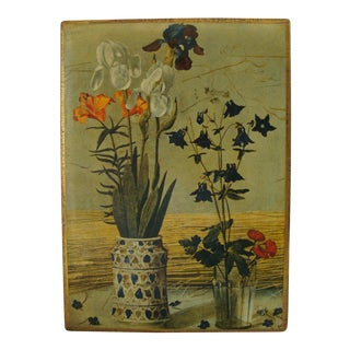 Large Italian Florentine Letter Box With Iris Flowers For Sale
