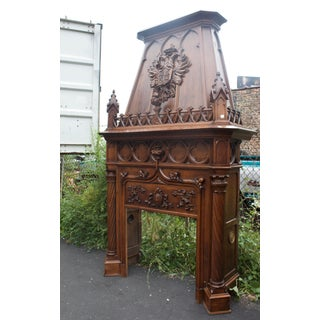 1880's Antique Carved Walnut Gothic Monumental Fireplace Mantle Preview