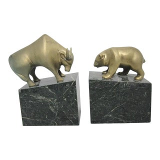 Mid 20th Century Bear and Bull Bookends - a Pair For Sale