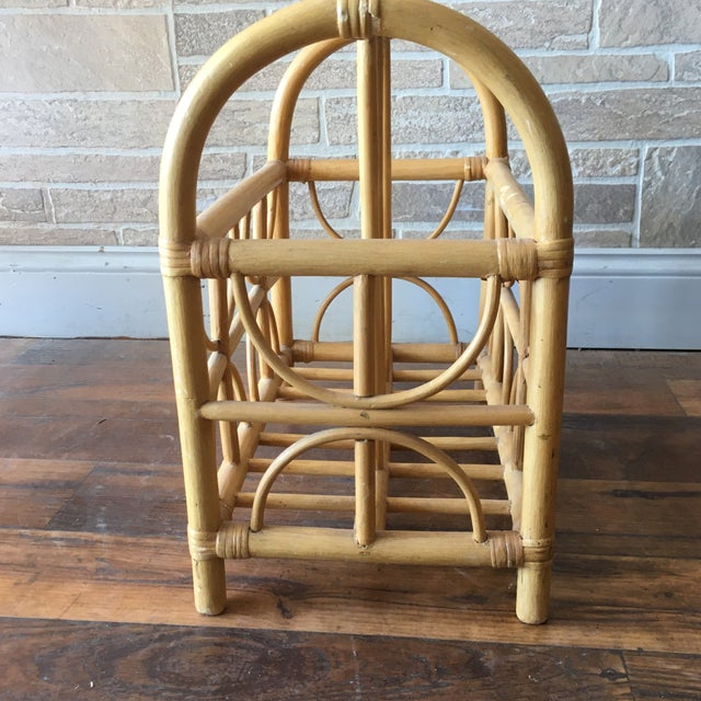Vintage Bamboo / Rattan Bentwood Divided Magazine Holder For Sale In New York - Image 6 of 7