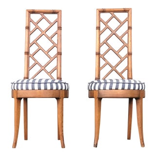 1960s Vintage Bamboo Dining Chairs- a Pair For Sale
