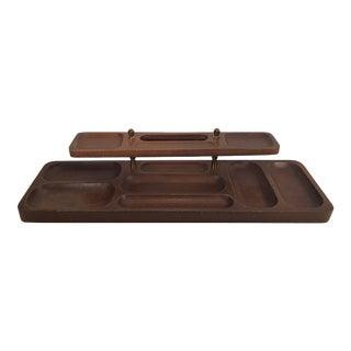 Vintage Swank Wooden Two Tier Men's Dresser Tray For Sale