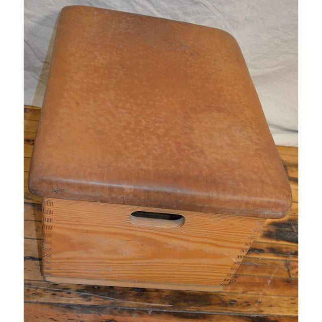 Mid 20th Century Vintage German Gymnast Leather Top Bench For Sale - Image 5 of 9