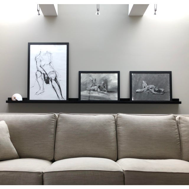 """Paper Contemporary Figure Drawing in Charcoal and Ink - """"Idle, Crossed Feet"""", by Artist David O. Smith For Sale - Image 7 of 12"""