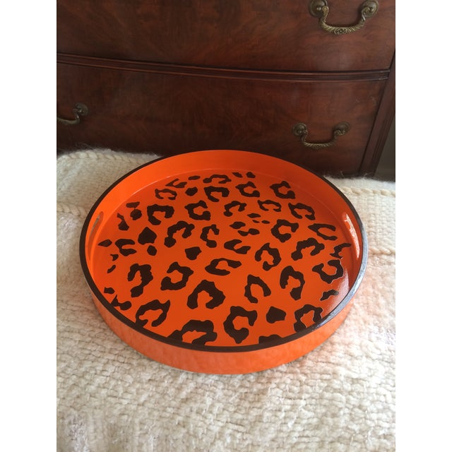 Round Hermès Inspired Orange & Brown Leopard Tray - Image 9 of 9