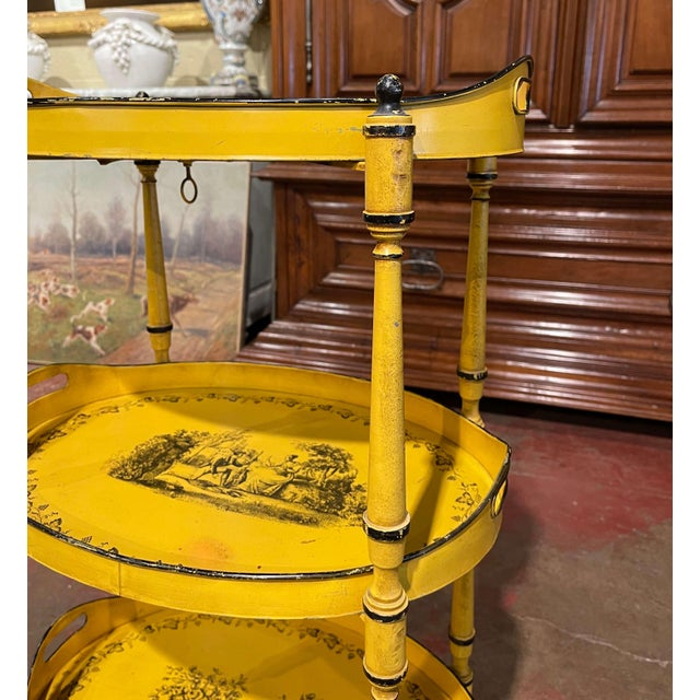 Metal Mid-Century French Hand Painted Three-Tier Tole Side Table For Sale - Image 7 of 9