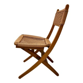 Vintage Mid-Century Modern Hans Wegner Style Wood and Rope Folding Chair, C. 1980's For Sale