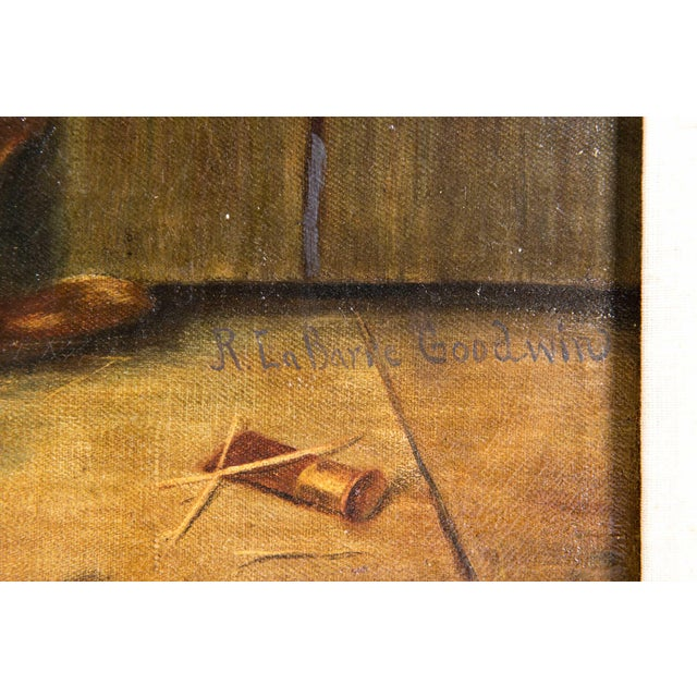 Early 20th Century Trompe l'Oeil Oil Painting With Wood Frame For Sale - Image 4 of 11