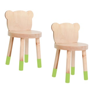 Nico & Yeye Baba Kids Chair Solid Maple Green - Set of 2 For Sale
