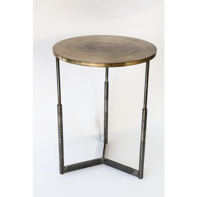 Gold Two Custom Steel and Brass Side Tables For Sale - Image 8 of 11
