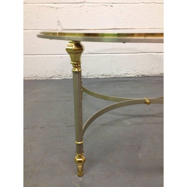 French Brass and Steel Coffee Table For Sale - Image 4 of 4