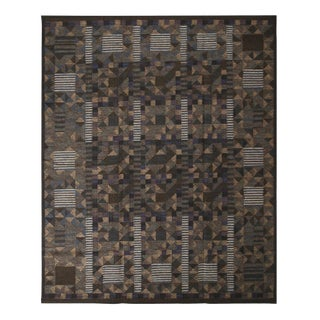 Rug & Kilim's Scandinavian-Inspired Brown Green and Blue Wool Kilim Rug-8'5'x10'3' For Sale