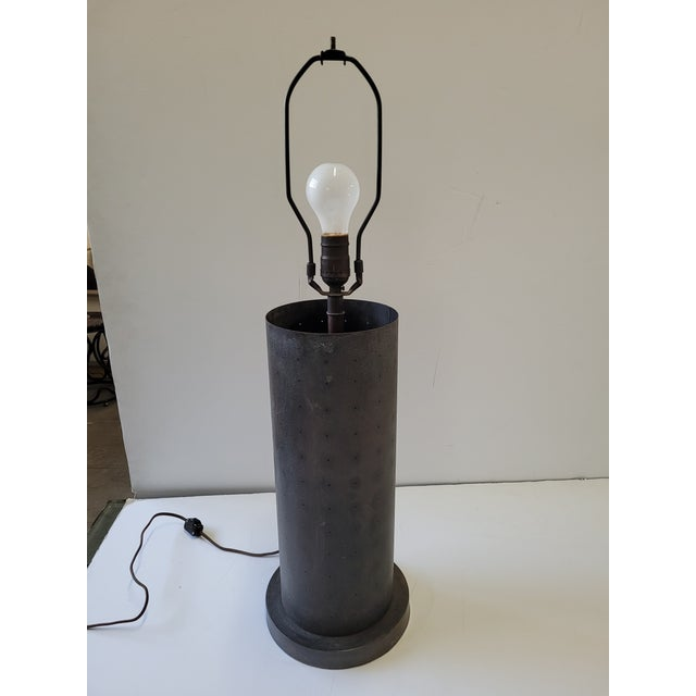 1960s 1960s Mid-Century Table Lamp With Pinhole Lights & Vintage Shade For Sale - Image 5 of 9