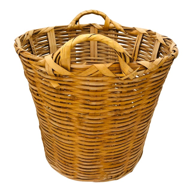 Vintage Natural Woven Wicker Laundry Basket For Sale
