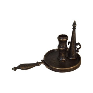 Vintage Brass Candle Holder Tray & Extinguisher