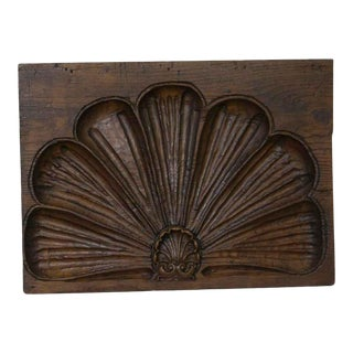 Carved Shell Motif Oak Molding Plaque - 20x15 For Sale