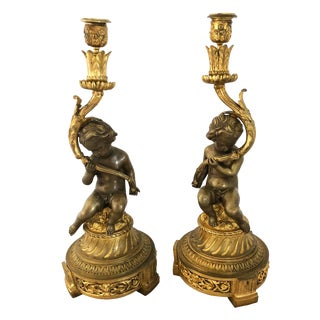 Late 19th Century Vintage French Louis XVI Style Bronze Cherub Candleholders- a Pair For Sale