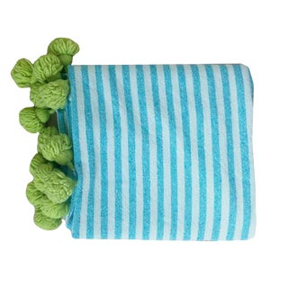 Blue and Green Pompom Throw For Sale