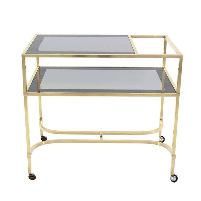 Mid-Century Modern Nice Solid Brass Profile Serving Cart For Sale - Image 3 of 10