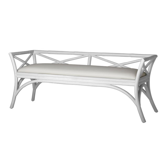 Coastal Charlotte Bench - White For Sale - Image 3 of 3