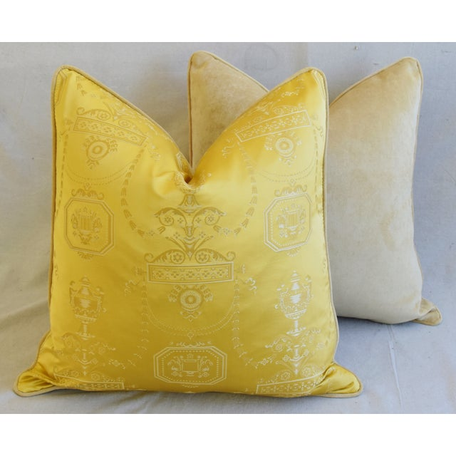 """Designer Italian Golden Silk Lampas Feather/Down Pillows 24"""" Square - Pair For Sale - Image 10 of 12"""