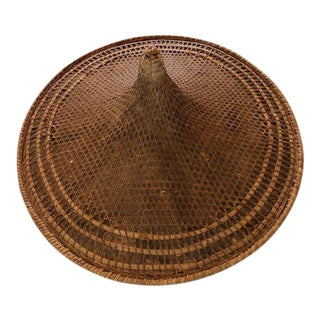Antique Rattan Rickshaw Coolie Hat