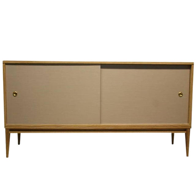 Customizable Bishop Lacquered Linen Door Console For Sale