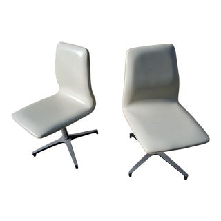 Chromcraft Arne Jacobsen for Fritz Hansen Style Vinyl Swivel Chairs - A Pair For Sale