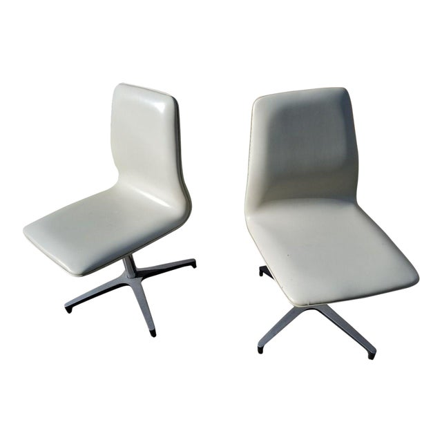 MCM Chromcraft Vinyl Swivel Chairs - a Pair For Sale
