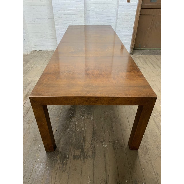 Milo Baughman for Thayer Coggin Milo Baughman Burl Wood Dining Table With Two Leaves For Sale - Image 4 of 9