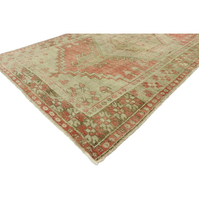 52727 Distressed Vintage Turkish Oushak Rug Rustic Lodge and Tribal Style 03'04 x 05'07. This hand-knotted wool distressed...