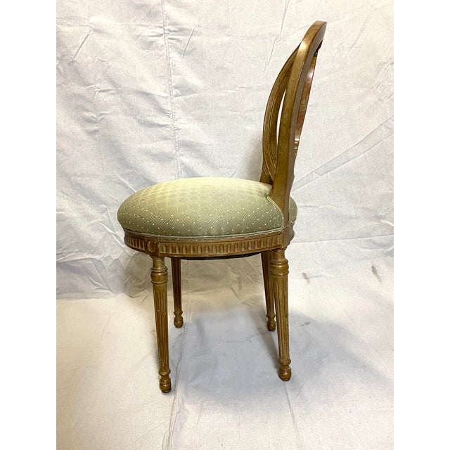Green Rare Antique Set of 6 French Dining Chairs Balloon Back Silk Cushions Fabulous For Sale - Image 8 of 11