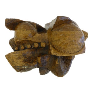 Hefty Mid Century Wood Sculpture For Sale