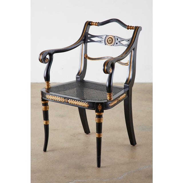 Late 20th Century Pair of Regency Style Lacquered Armchairs by Theodore Alexander For Sale - Image 5 of 13