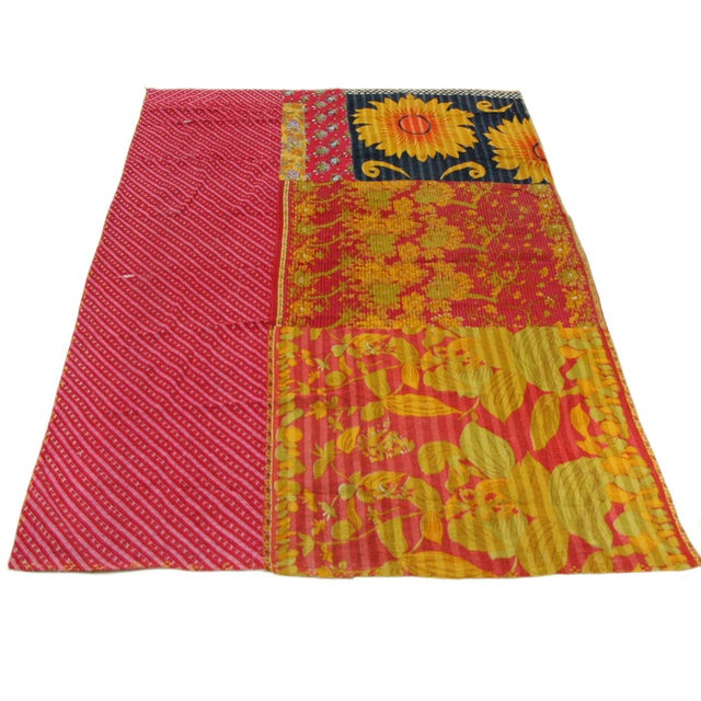 Rug & Relic Vintage Kantha Quilt of Pinks With Yellow - Image 3 of 3