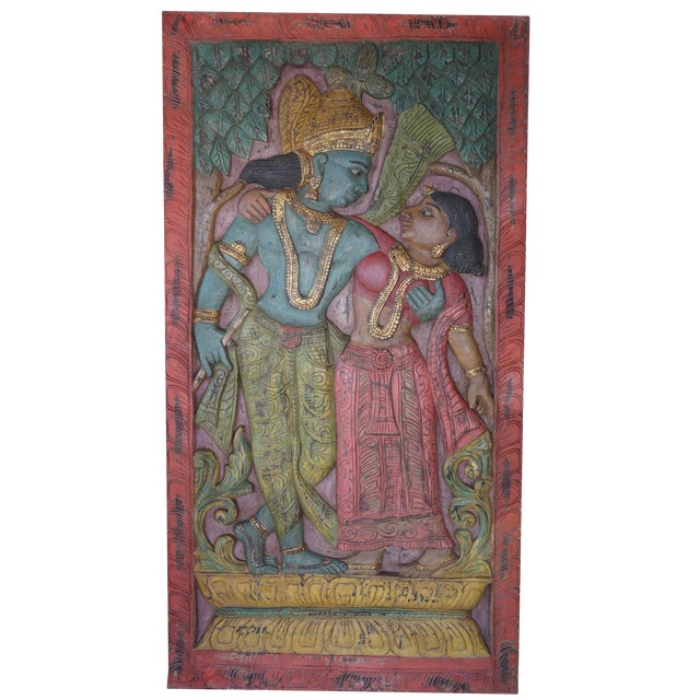 Antique Hand Carved Radha Krishna Divine Love Wall Sculpture For Sale