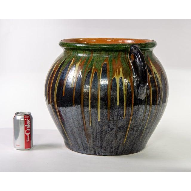 Large European Drip Glaze Black Ceramic Pot For Sale In Detroit - Image 6 of 11