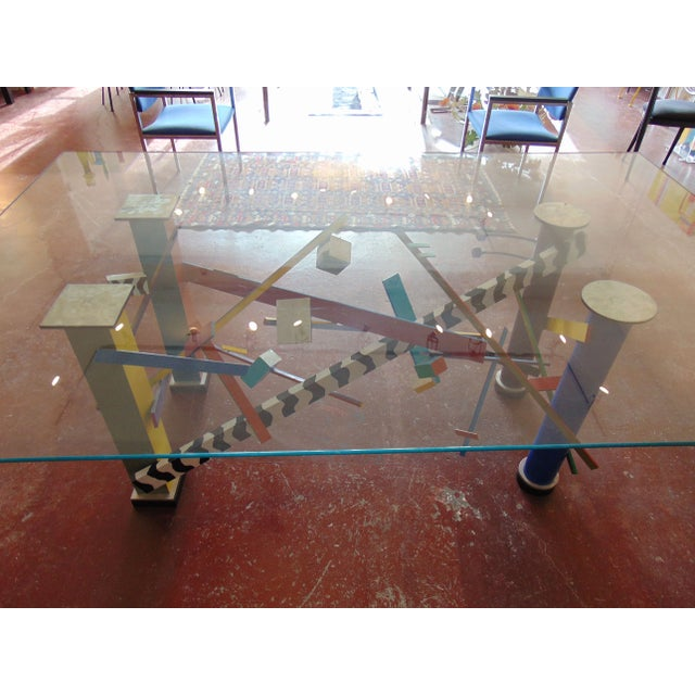 Modern Memphis Style Abstract Geometric Table For Sale - Image 3 of 7