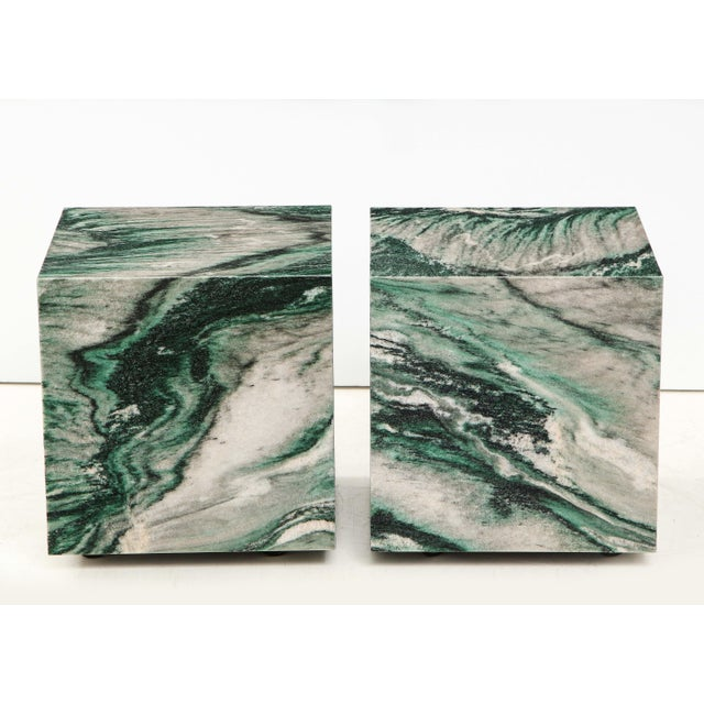 Stunning pair of Polar Verde marble cubes. The matched marble makes for a beautiful pair of end tables that are easily...