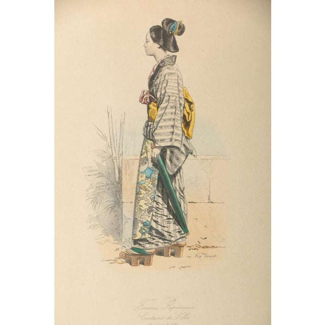 Asian Vintage 19th Century Japanese Costumes Hand Colored French Intaglio Prints - a Pair For Sale - Image 3 of 11