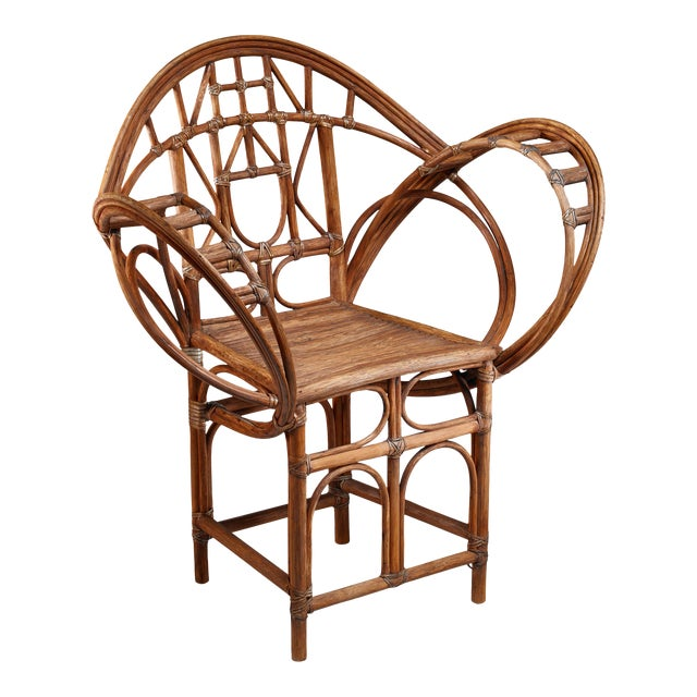 Curved hand-crafted willow chair, Austria For Sale